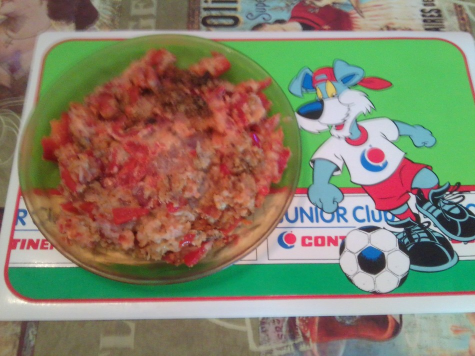 omelette poivron rouge et lardon